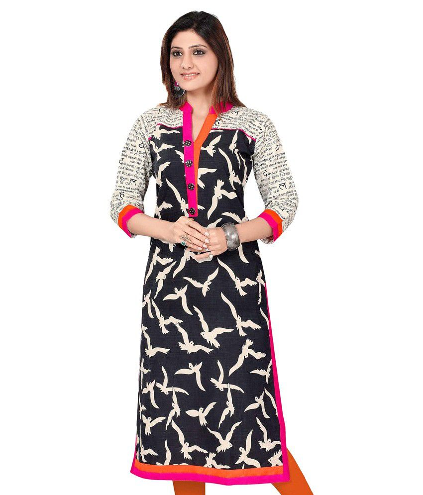 Fashion Store Black Cotton Straight Kurti