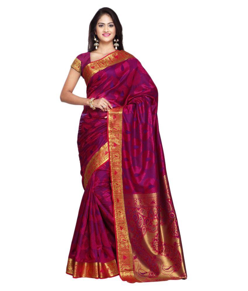 Janasya Pink Silk Saree