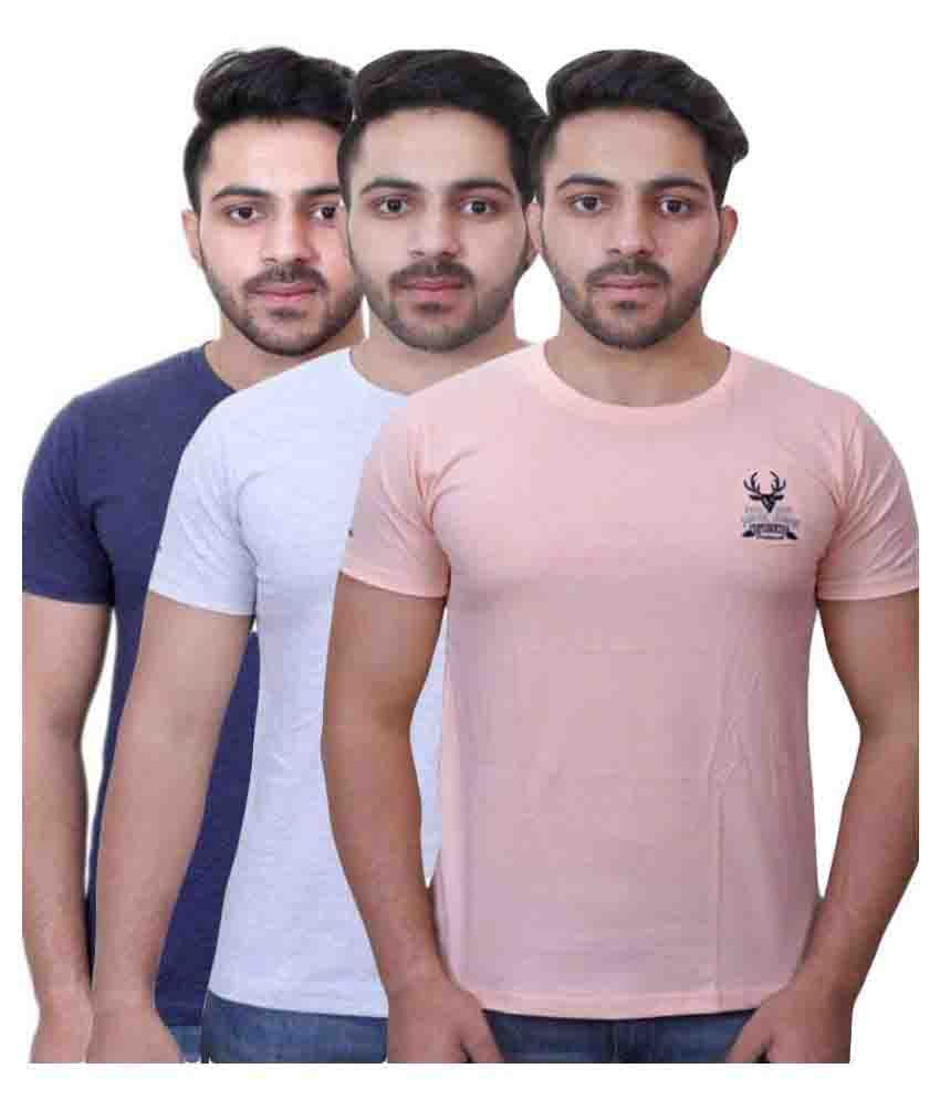 Vsquared2 Multicolor Round T-Shirt - Pack of 3