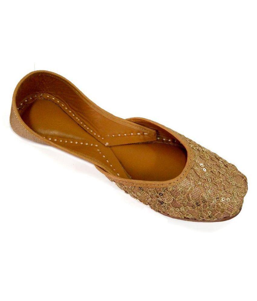 Coral Haze Gold Flat Ethnic Footwear
