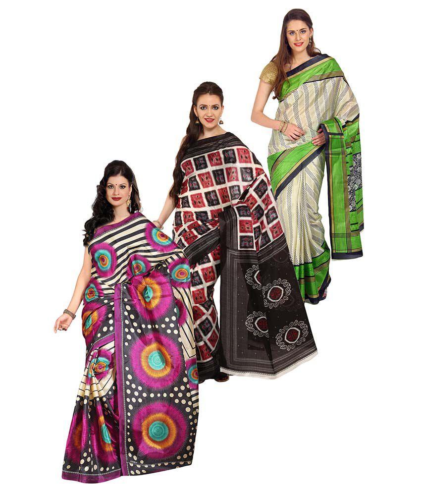 Aryahi Multicoloured Art Silk Saree Combos