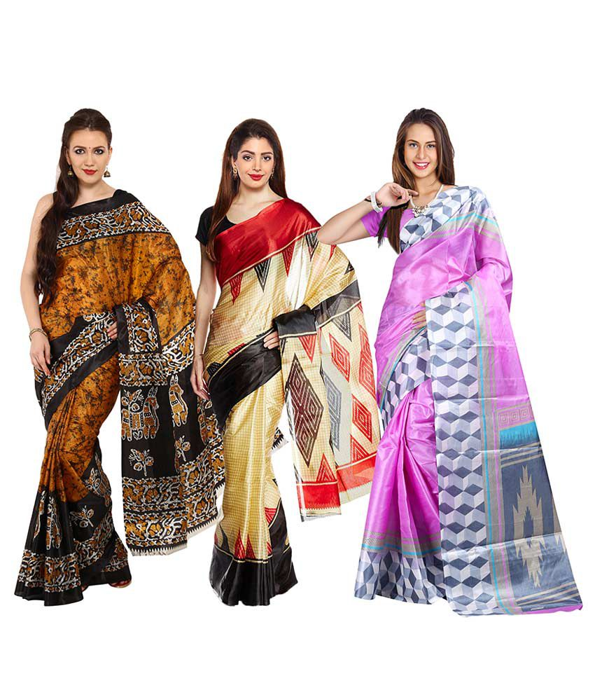 Parchayee Multicoloured Art Silk Saree Combos