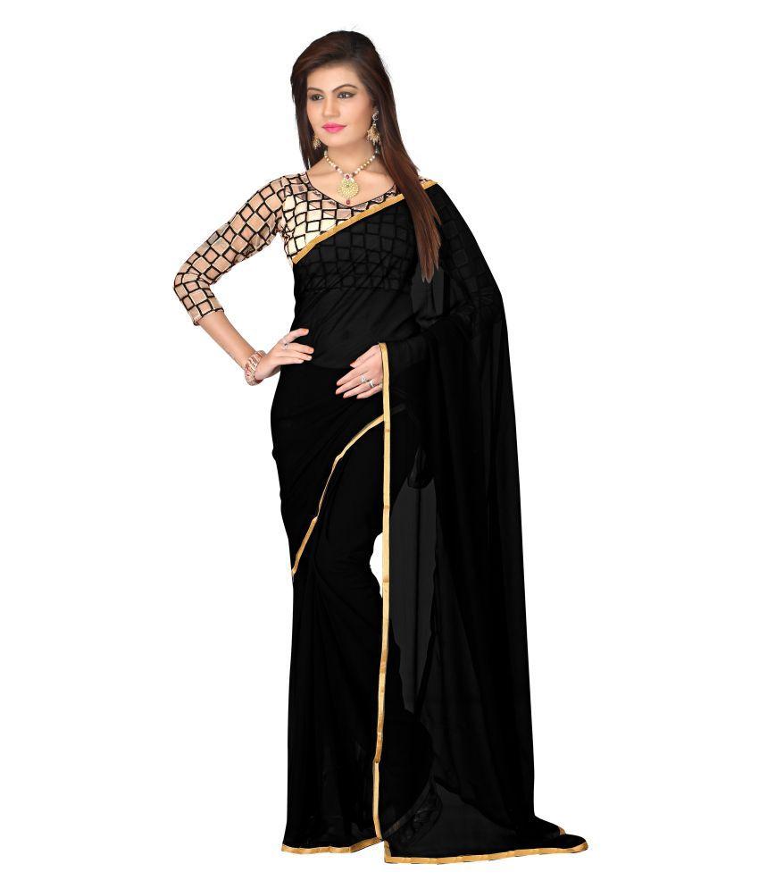 Vaidehi Fashion Black Chiffon Saree