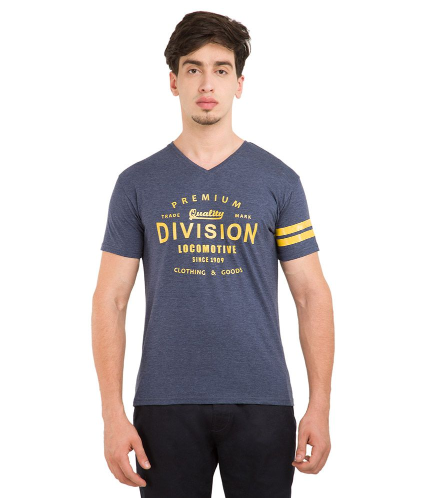 Locomotive Navy V-Neck T Shirt