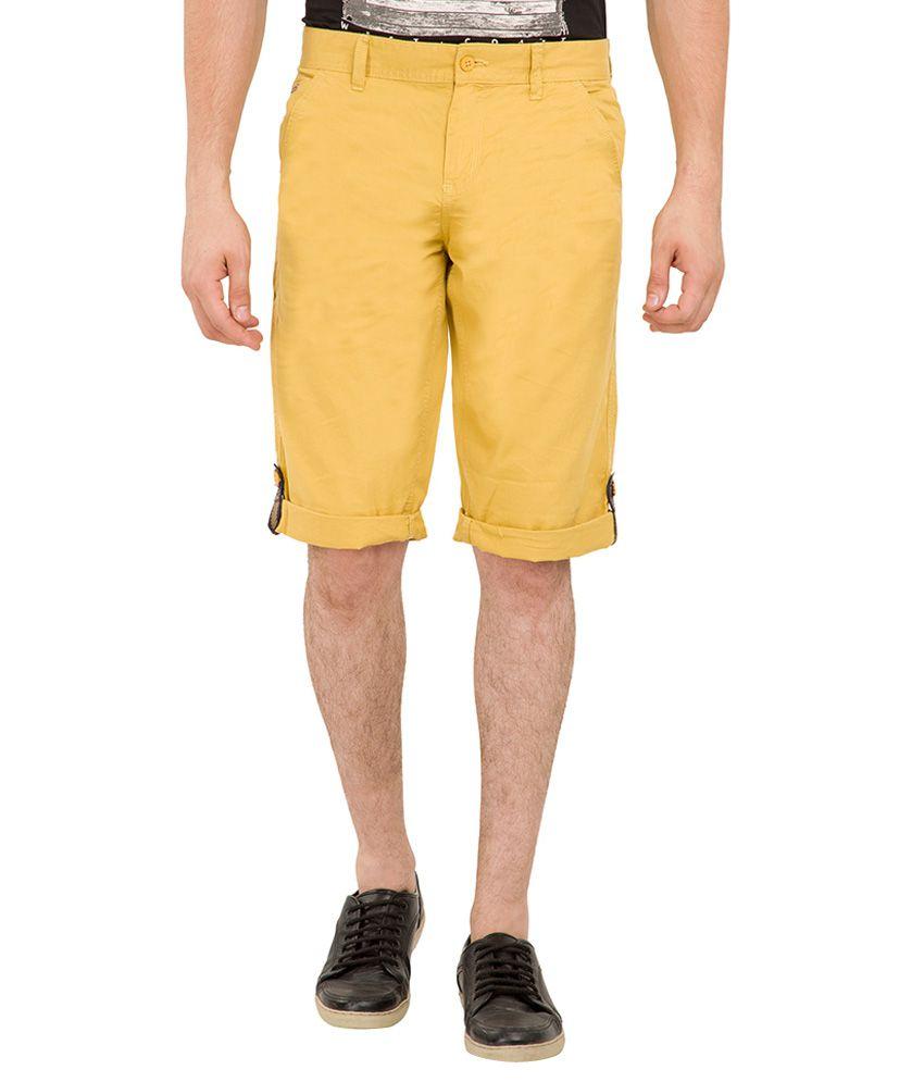 Locomotive Yellow Cotton Shorts
