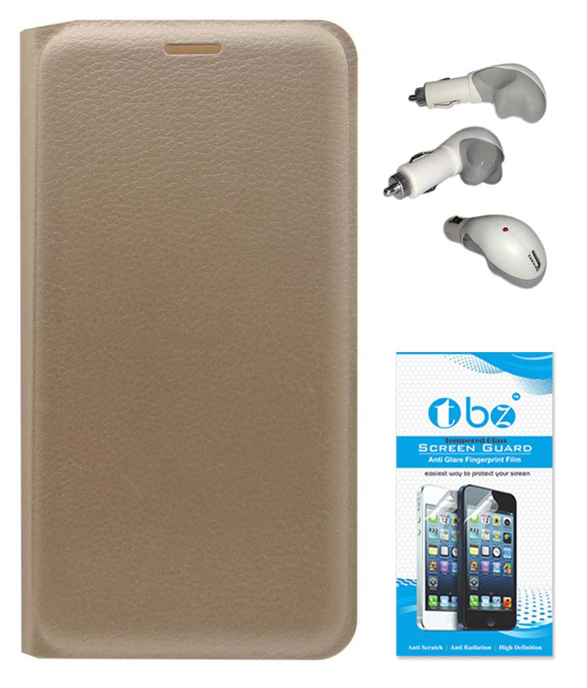 TBZ PU Leather Flip Cover Case for Oppo Joy 3 with Car Charger and Tempered Screen Guard -Golden