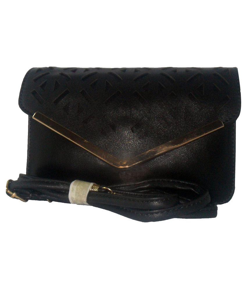 Ahana Black Faux Leather Sling Bag