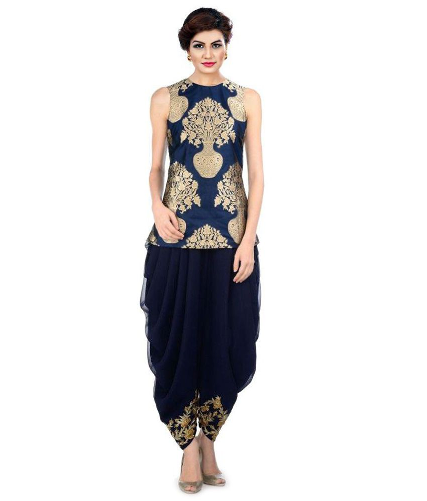 Kmozi Navy Jacquard Dhoti Suit Buy Online At Best Price