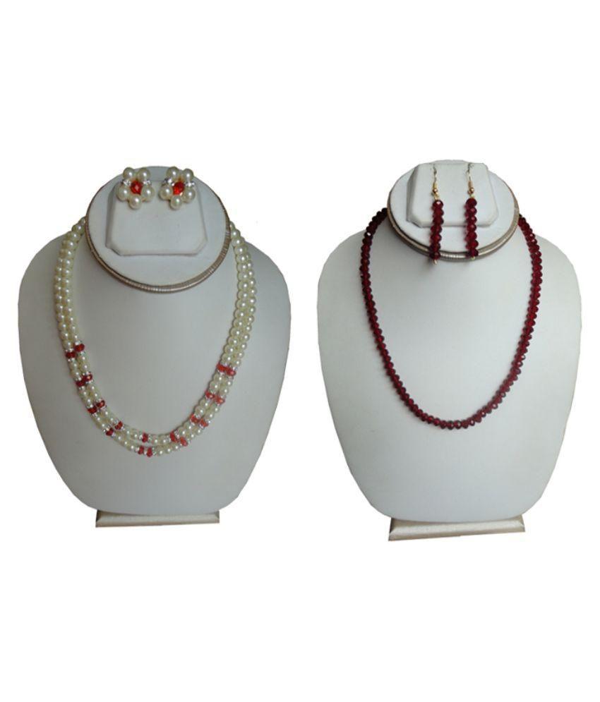 Shiny Pearls Multicolour Necklaces Set - Set of 2