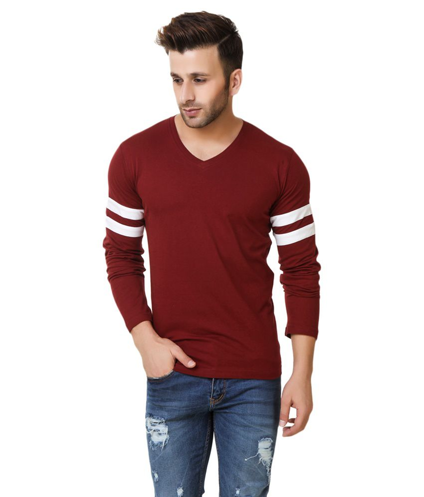 Fabstone Collection Maroon V-Neck T-Shirt