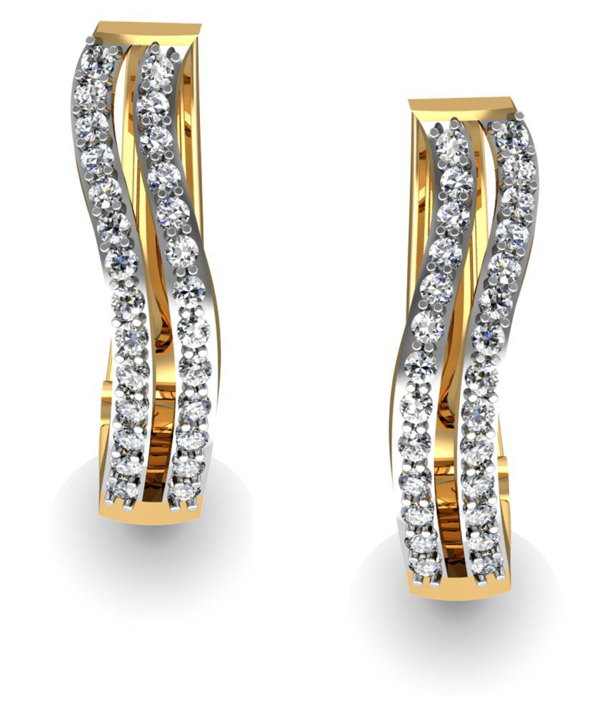 Jewellery Bazaar 18k Gold Diamond Drop Earrings