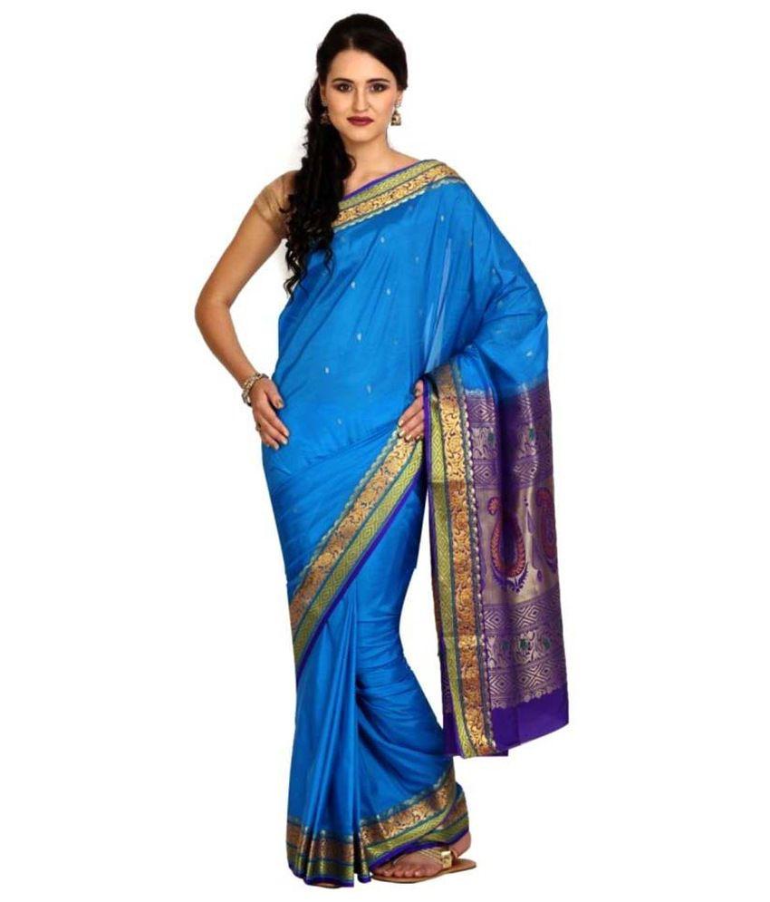 Satrang Blue Silk Saree