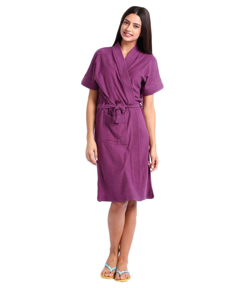 8a09493b91 Buy FeelBlue Purple Cotton Bathrobes Online at Best Prices in India -  Snapdeal