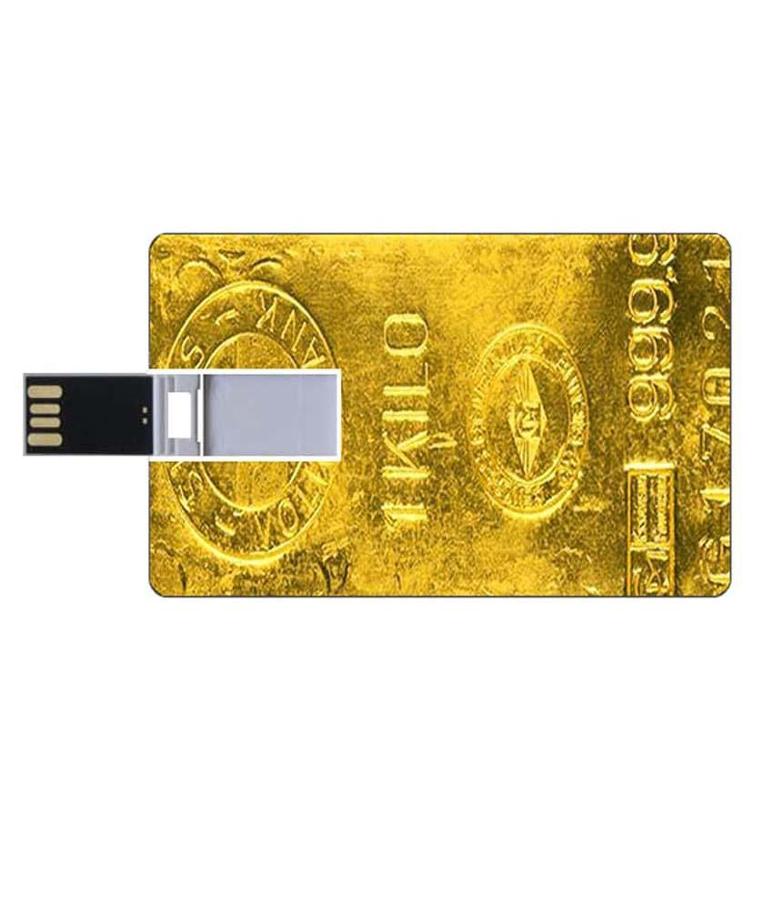 Youberry Credit Card Shape Pendrive Credit Card Shape 8GB USB 2.0 Fancy Pendrive Yellow