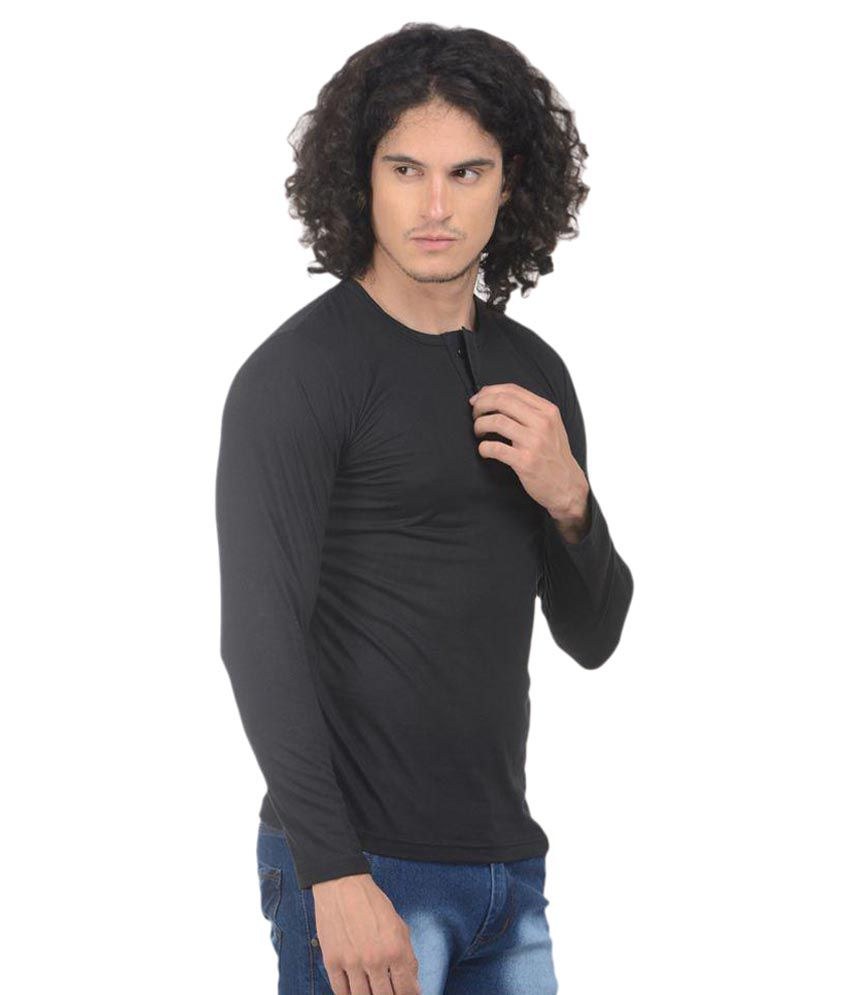 VS Fashion Black Henley T-Shirt