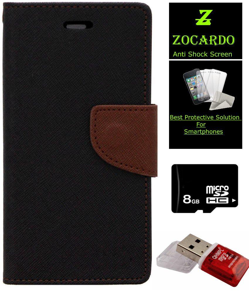 Zocardo Fancy Diary Wallet Flip Case Cover for Samsung Galaxy S4 -Black , Tempered, 8 GB Memory Card, Mem Card Reader