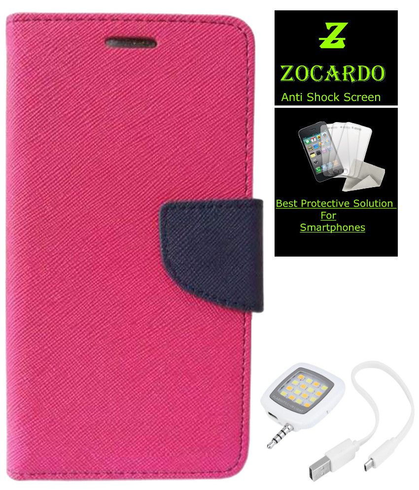 Zocardo Fancy Diary Wallet Flip Case Cover for HTC One (M8) -Pink , Tempered, Flash For Mobile