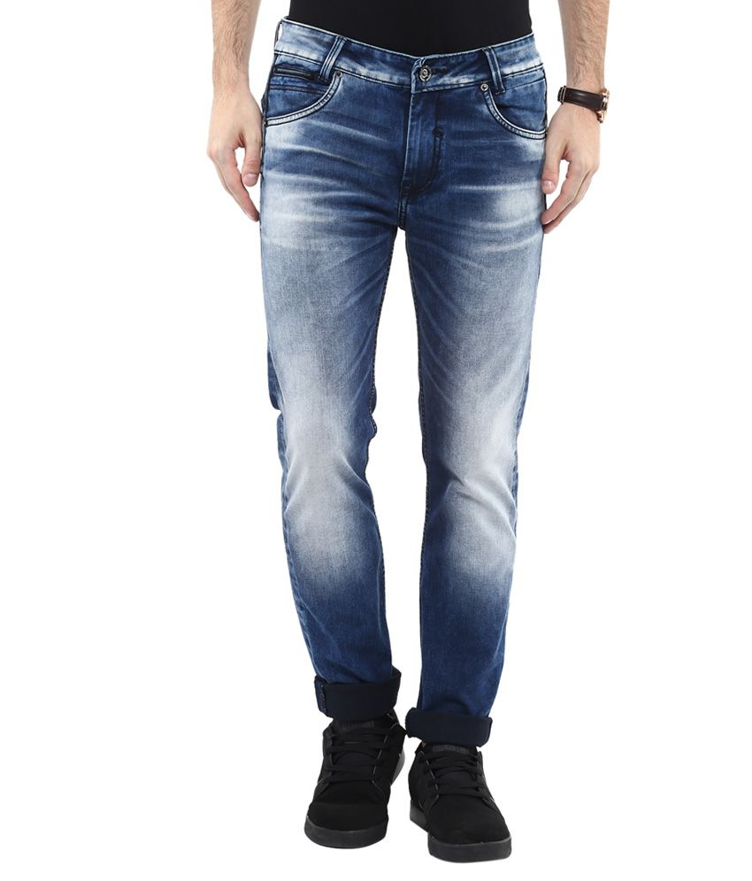 Mufti Blue Skinny Fit Faded Jeans