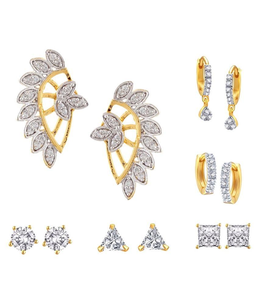 Archi Collection Golden Earrings Combo - Set of 6