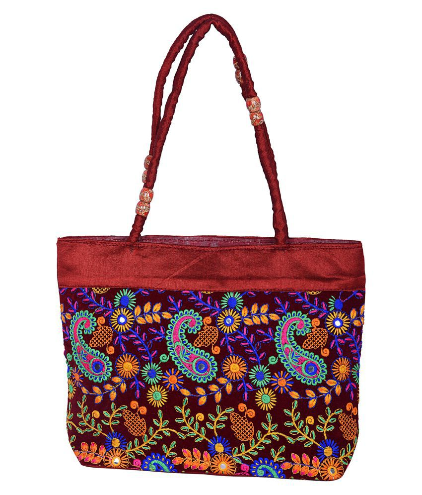 Decot Paradise Maroon Fabric Tote Bag
