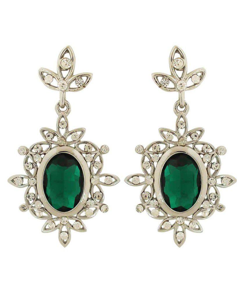 Maayra Green Hanging Earrings