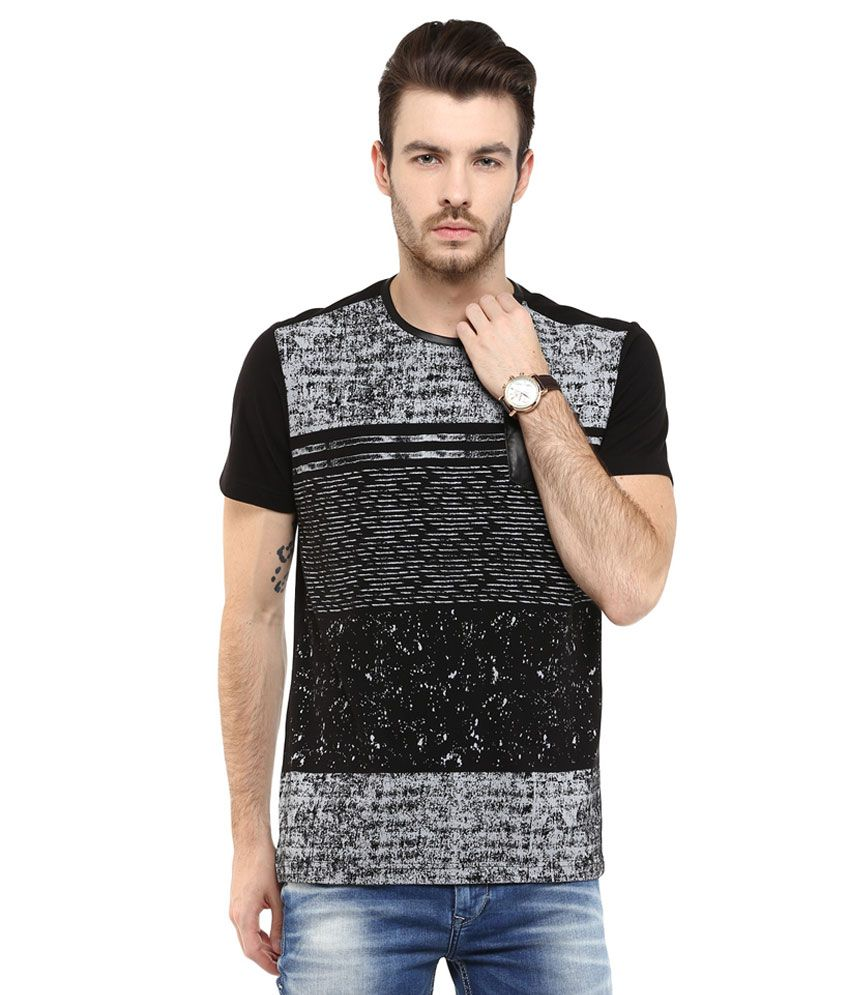Mufti Black Printed Slim Fit T-Shirt