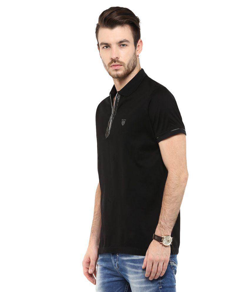b743bc23fc6f Mufti Black Solid Slim Fit Polo T-Shirt - Buy Mufti Black Solid Slim ...