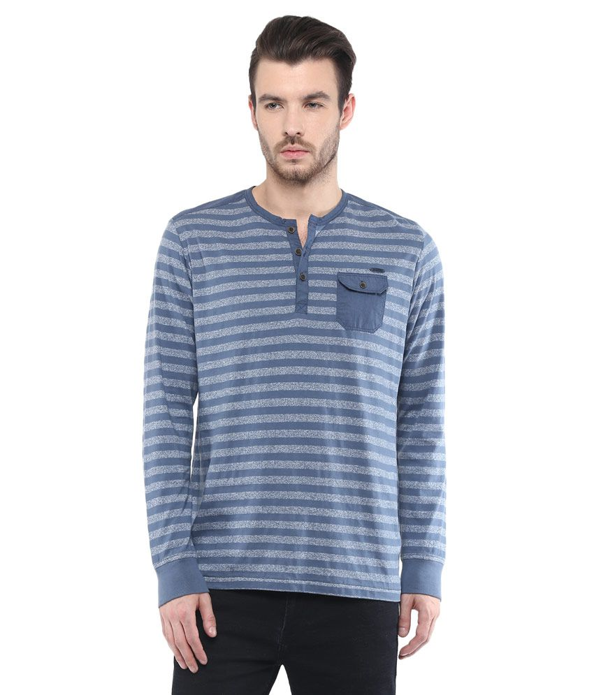 Mufti Navy Blue Striped Slim Fit Henley T-Shirt