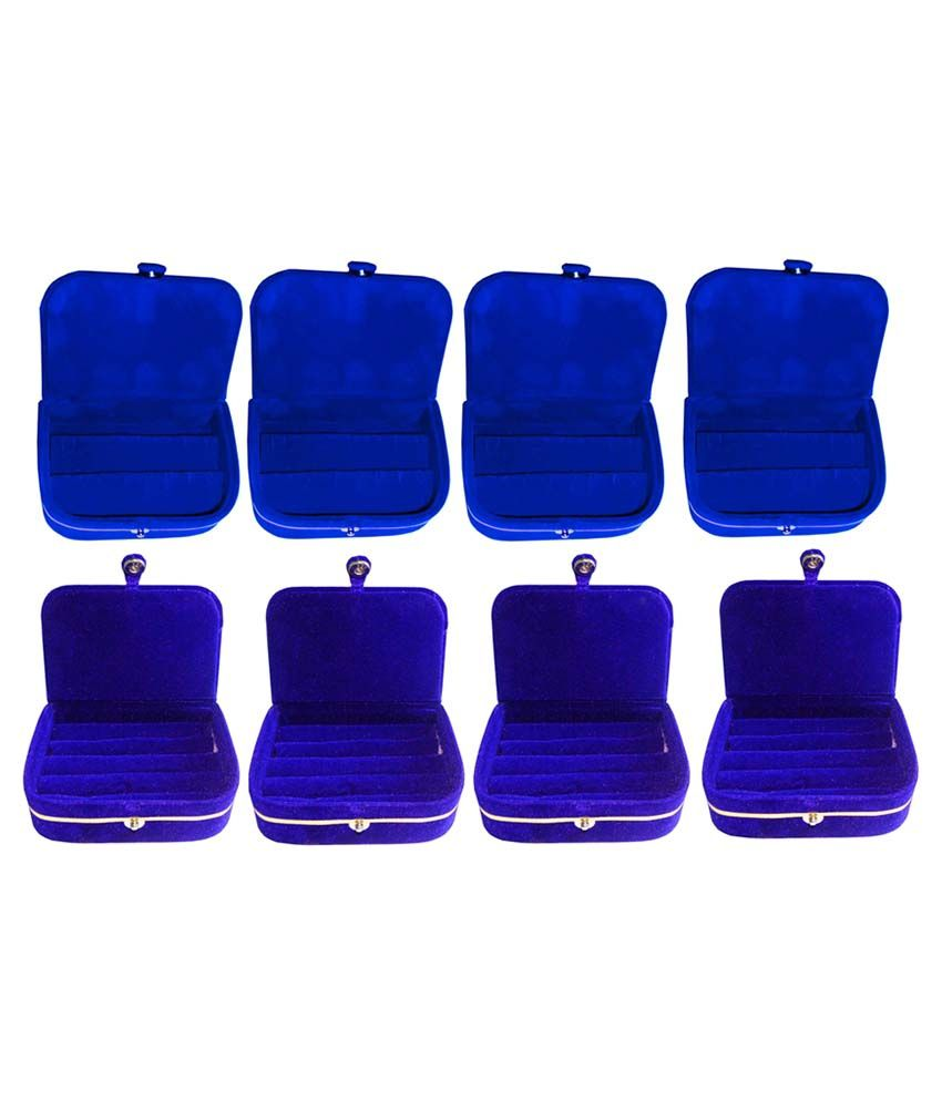 Abhinidi Combo of Blue Four Earrings and Four Ring Boxes