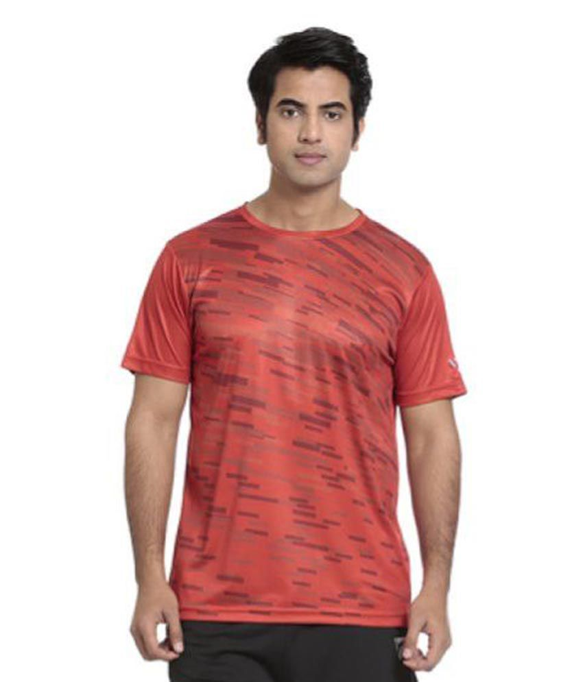 Seven Red Polyester T-Shirts
