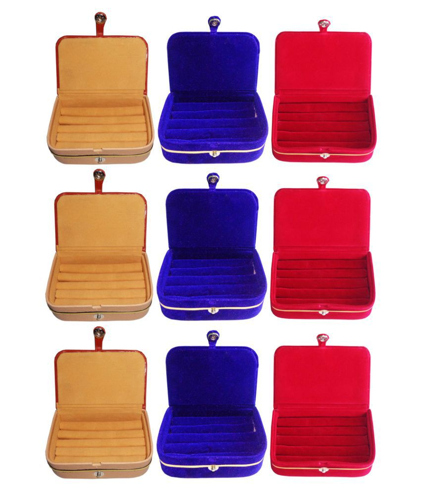 Abhinidi Multicolour Wooden Ring Box - Set of 9