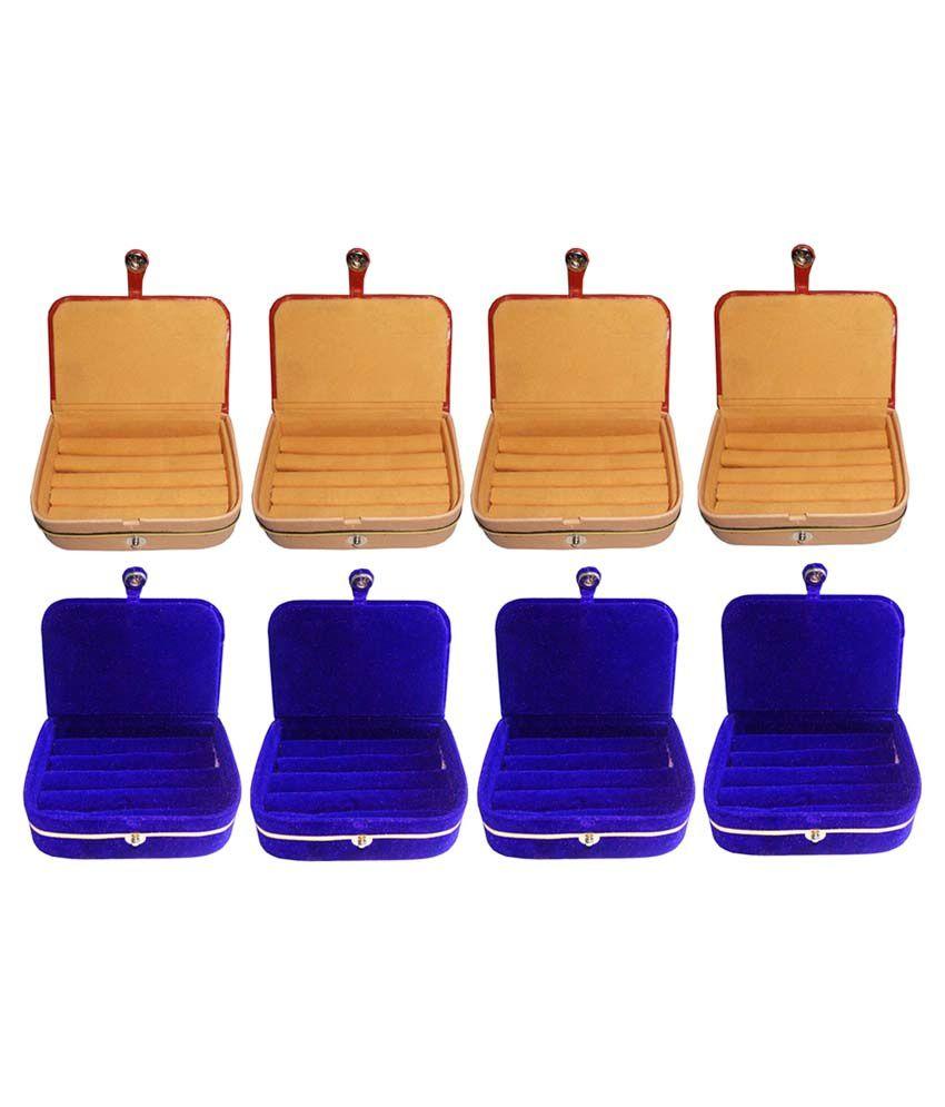 Abhinidi Multicolour Wooden Ring Box - Set of 8