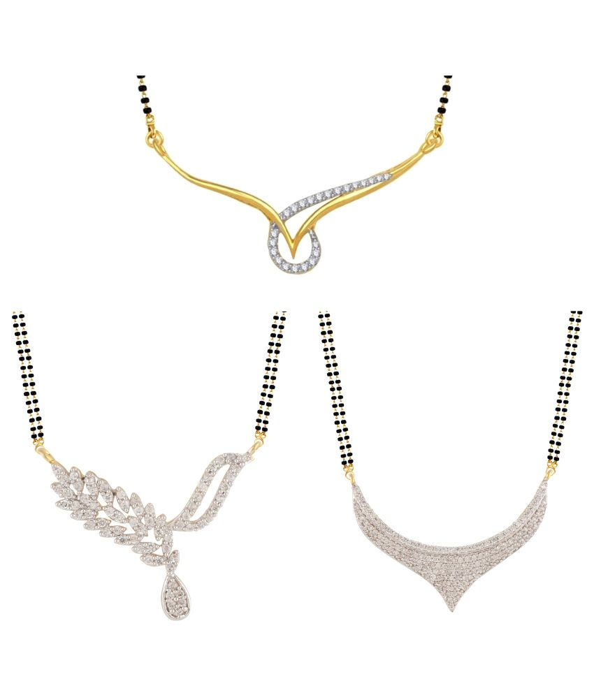 Parijaat Cubiz Zirconia Studded Silver Colored Mangalsutra - Pack of 3