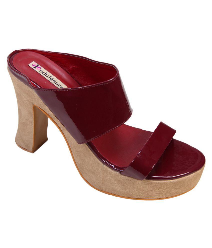 Indulgence Maroon Block Heels