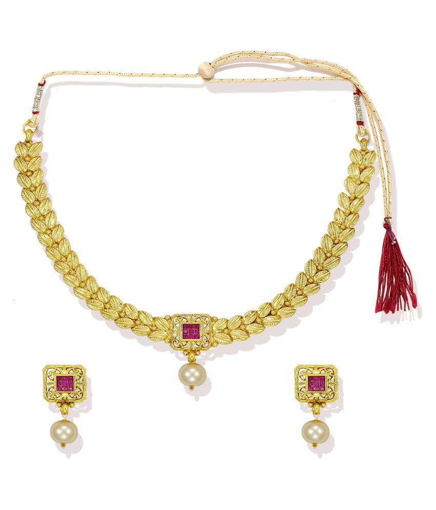 Zaveri Pearls 22Kt Gold Plated Necklace with Earrings