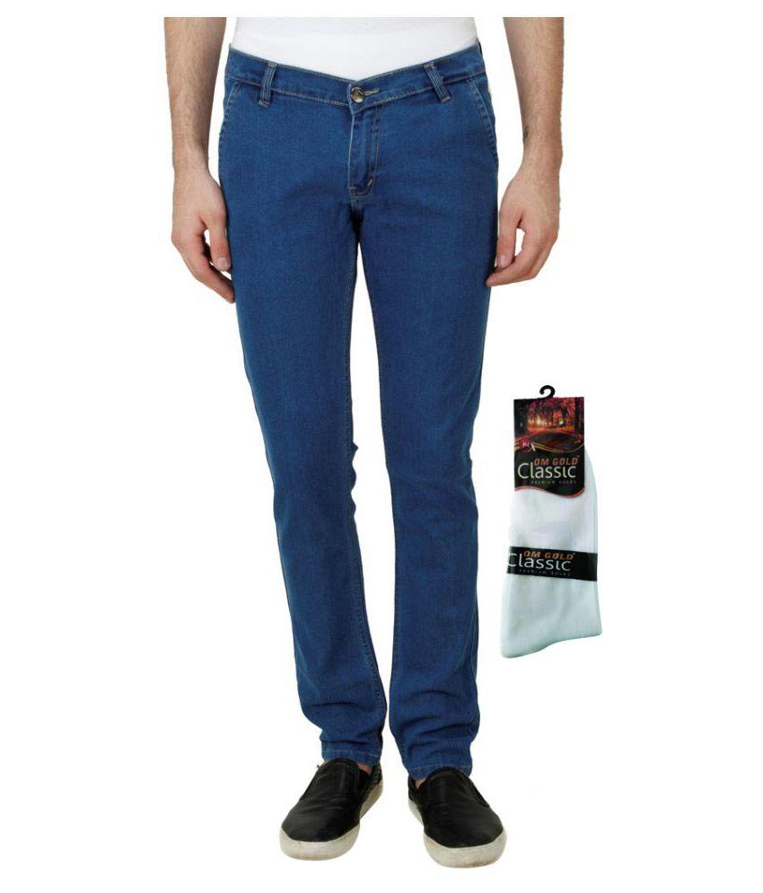 Haltung Blue Slim Solid Jeans