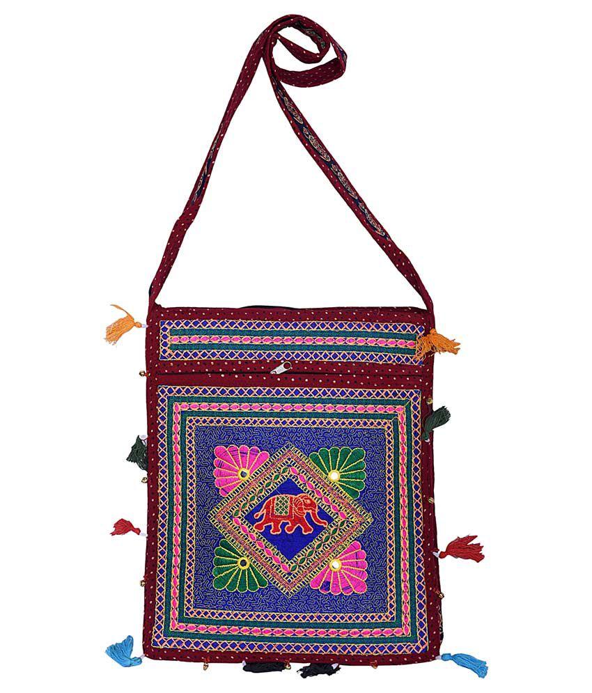 Decot Paradise Maroon Cotton Shoulder Bag