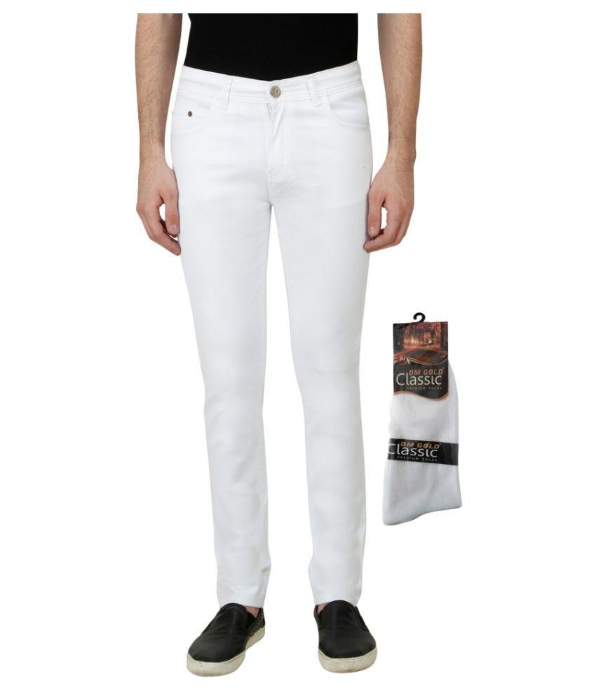 Haltung White Slim Solid Jeans