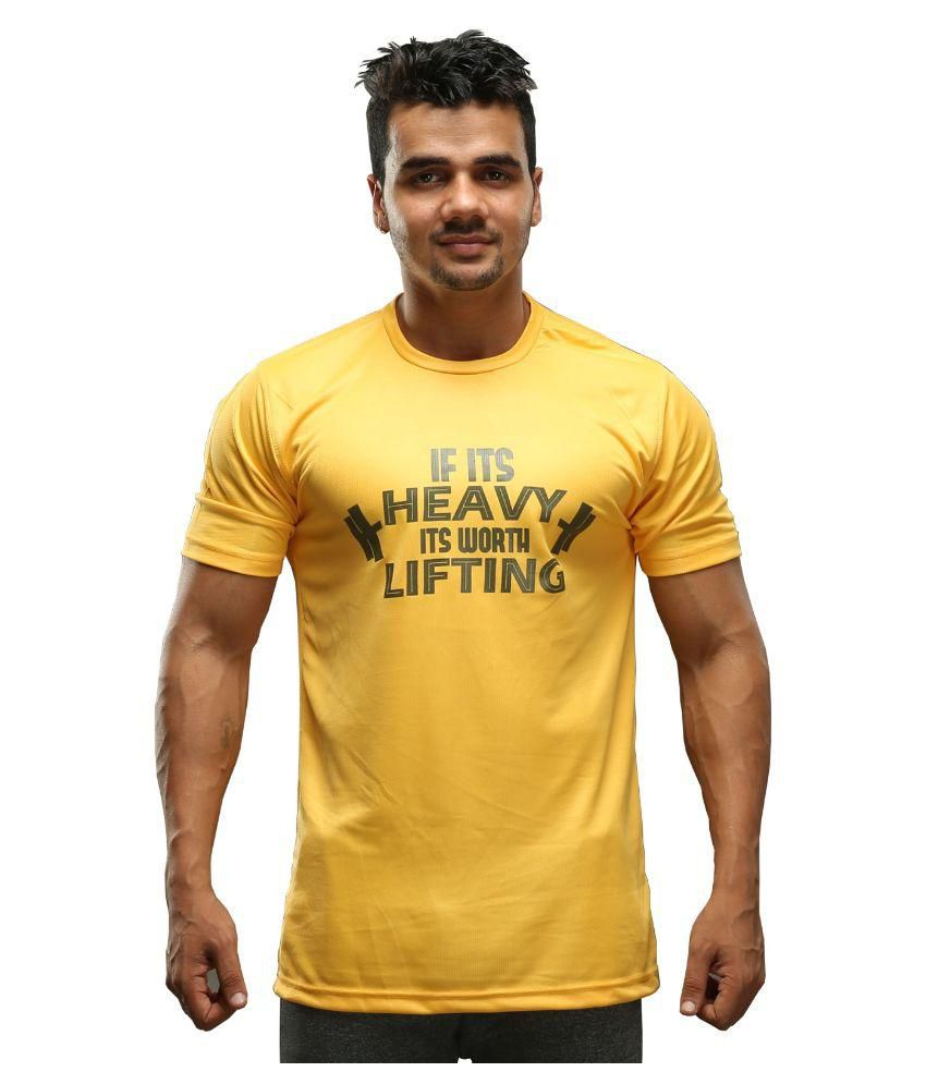 Beasthetic Yellow Polyester T-Shirt