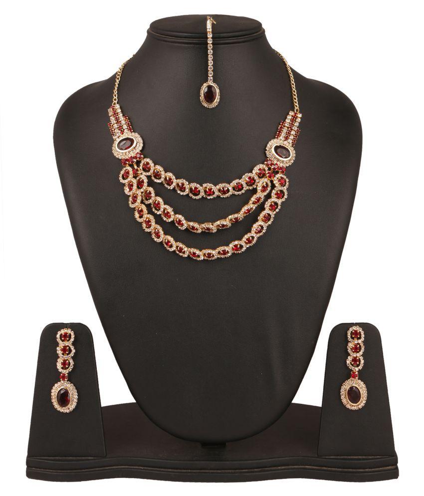 Fanvi Multicolour Necklace Set with Maang Tikka