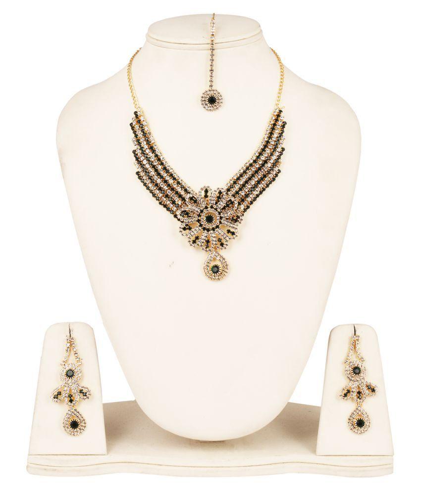 Fanvi Black Necklace Set with Maang Tika