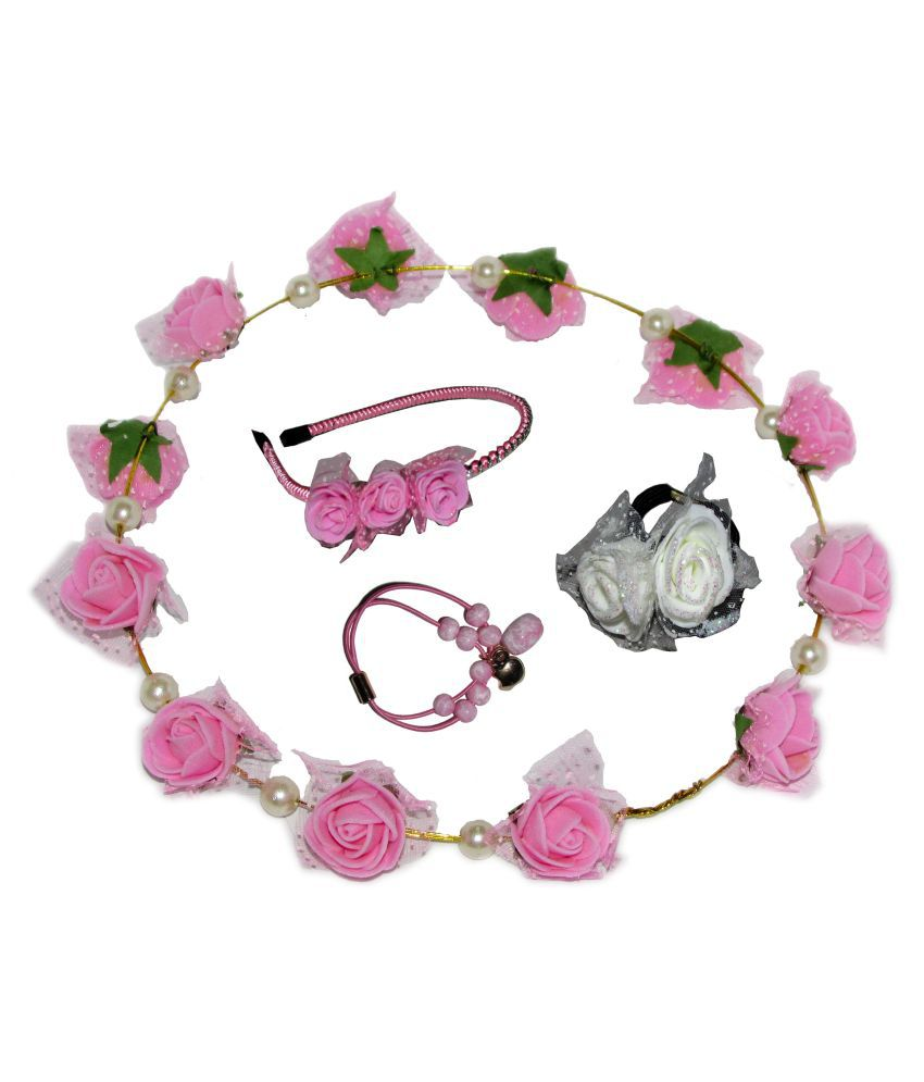 Goodluck Collection Multicolour Tiara with Hairband and 2 Rubber Band