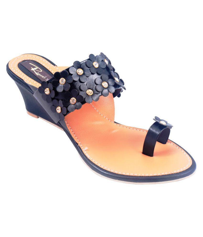 Rimezs Black Wedges Heels