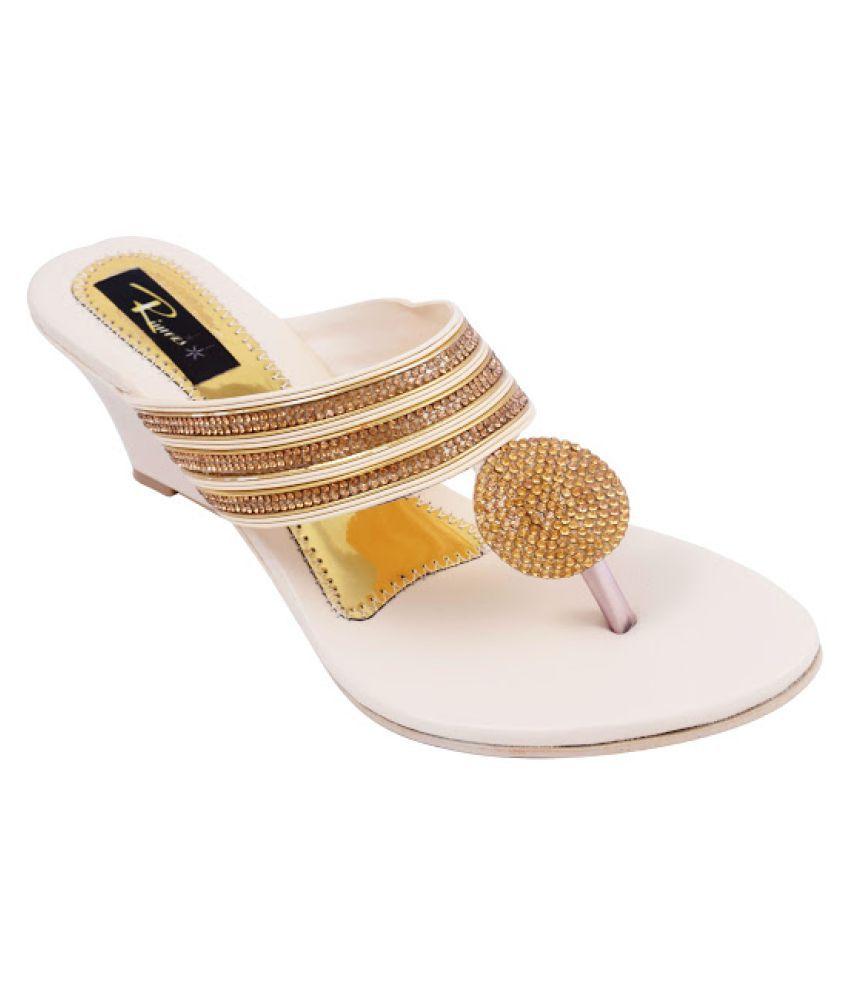 Rimezs Gold Wedges Heels