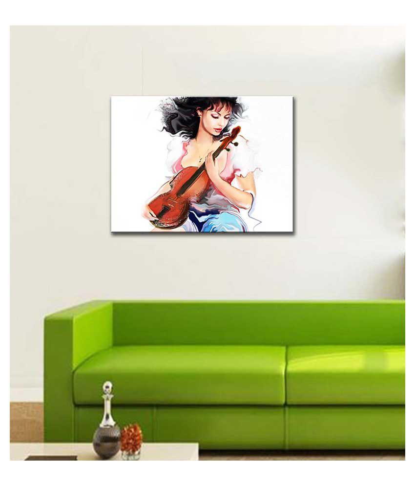 Tallenge Girl With The Violin #2 Canvas Art Prints With Frame Single Piece