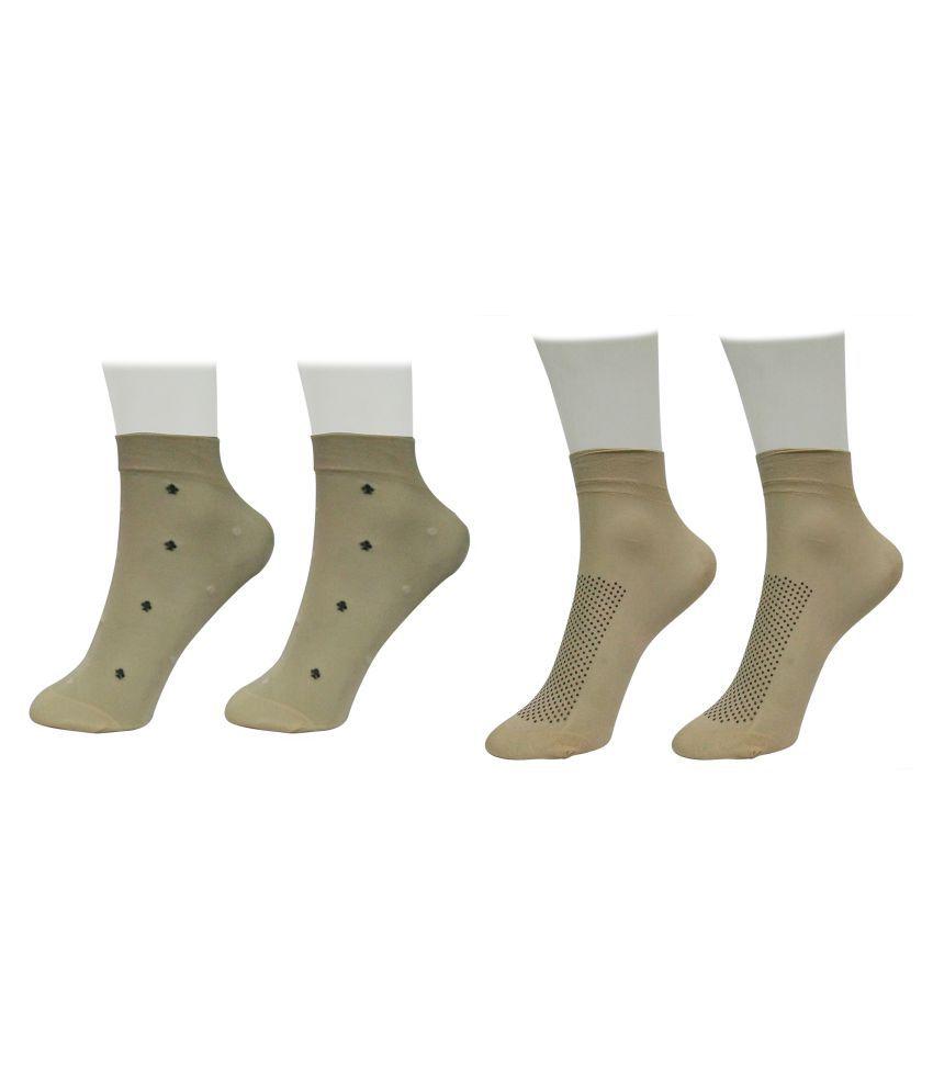 Gold Dust Beige Ankle Length Socks - 2 Pair Pack