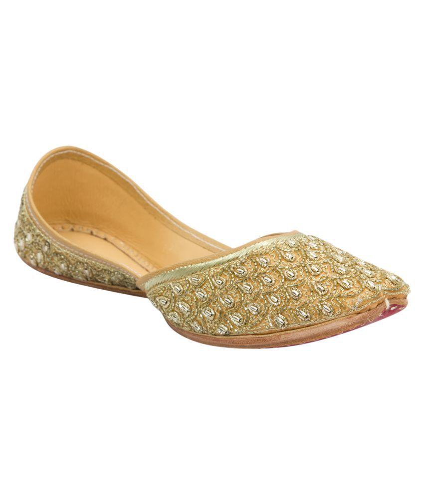 Ramayana Golden Flat Ethnic Footwear