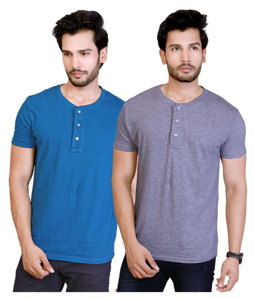 LUCfashion Multi Henley T-Shirt Pack of 2