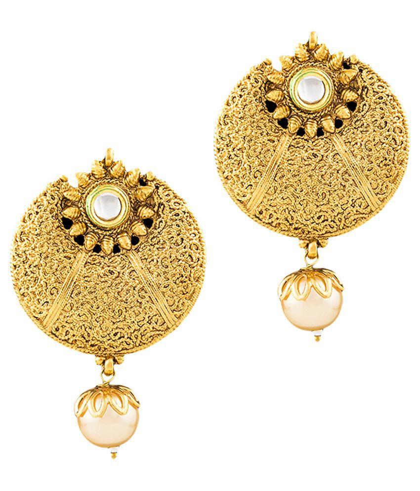 Reeva Fashion Jewellery Golden Hanging Earrings