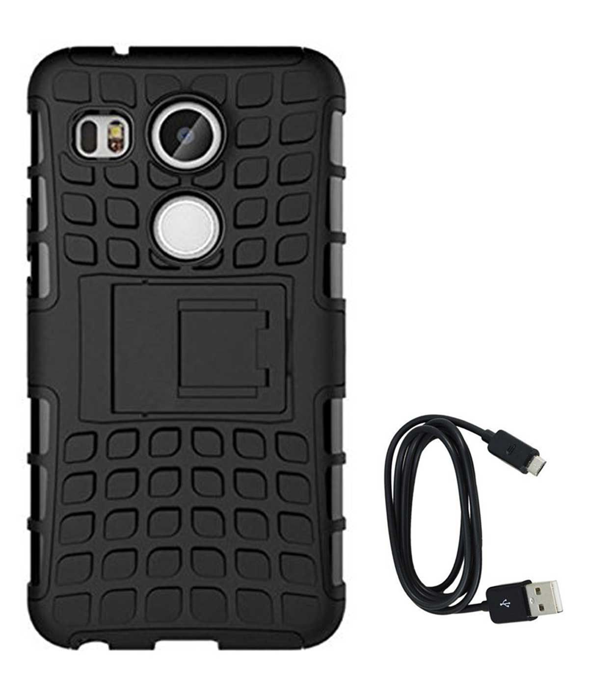 TBZ Hard Grip Rubberized Kickstand Back Cover Case for LG Google Nexus 5 with Data Cable -Black